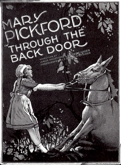 filmannons med Pickford och häst och texten In Through the Back Door