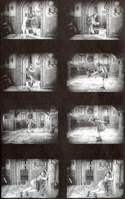 ett antal bilder ur scenen där Mary Pickford åker skurborstskridsko